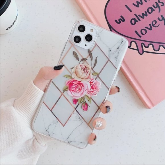 iPhone 11/Pro/Max/XR Flowers Marble case